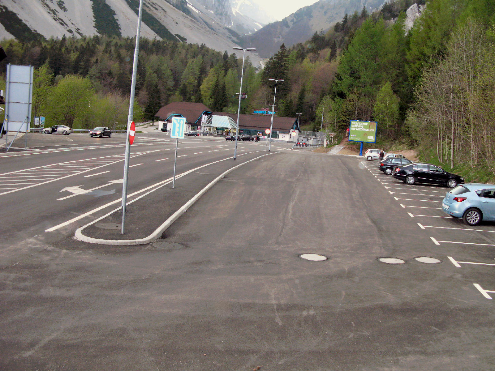 Parking lot at the Loibl Pass