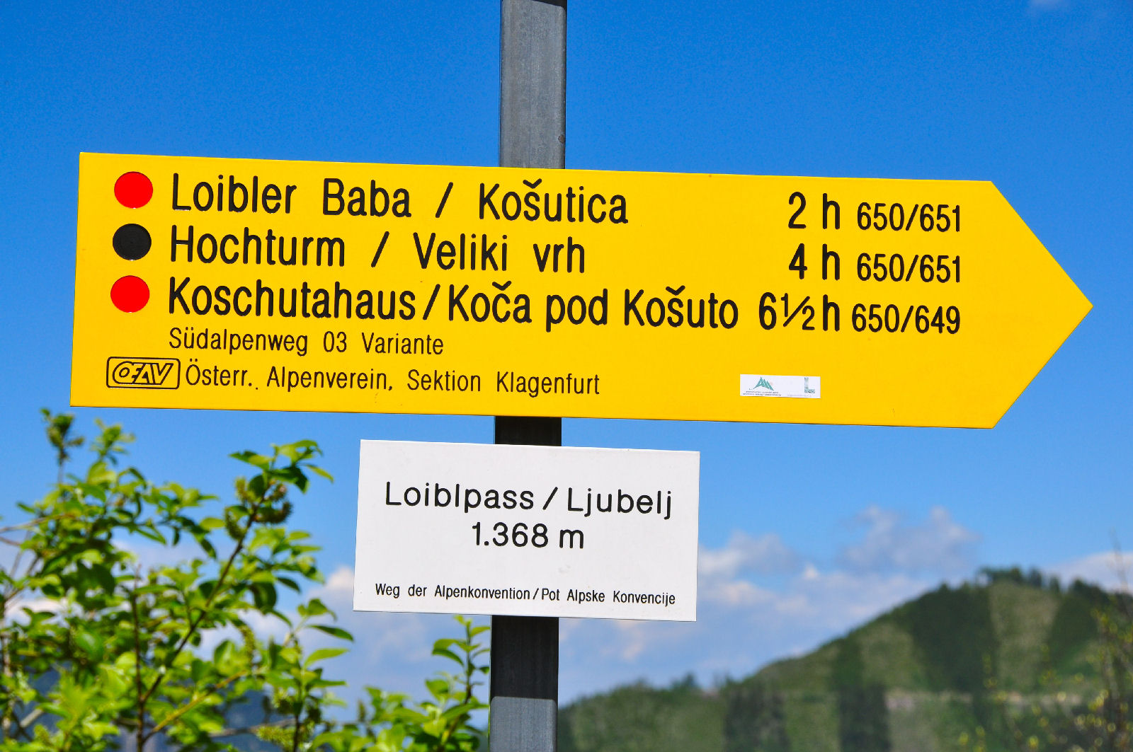 Marker on the on the Old Loibl mountain pass