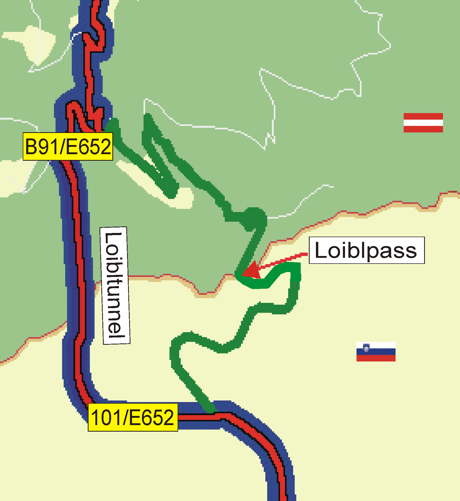In 1967, the Loibl-Tunnel was open for traffic, and the Old Loibl Pass over the mountain was closed for cars
