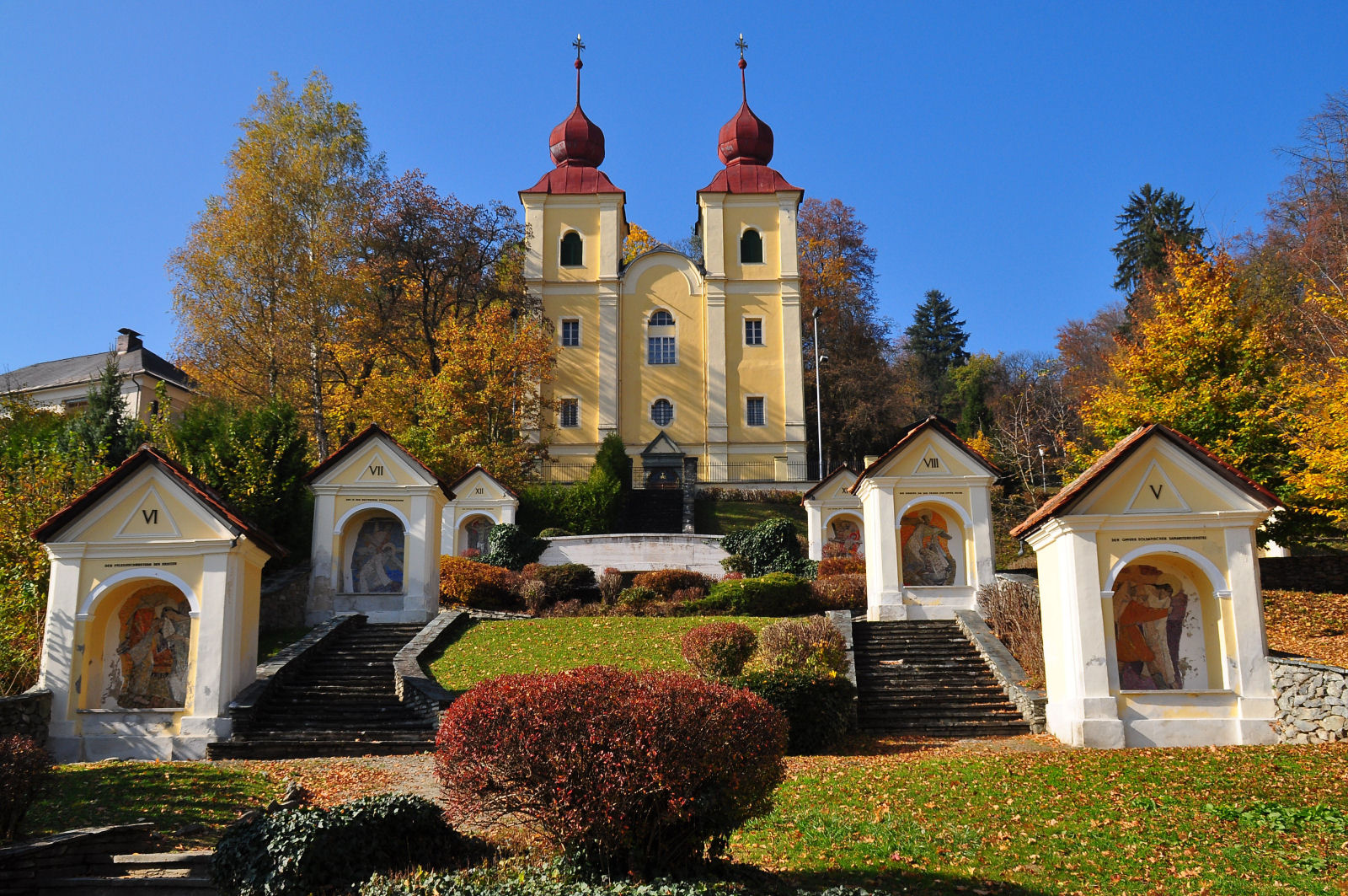 Memorial place of the state Carinthia with church on Kreuzbergl in Klagenfurt, Carinthia, Austria