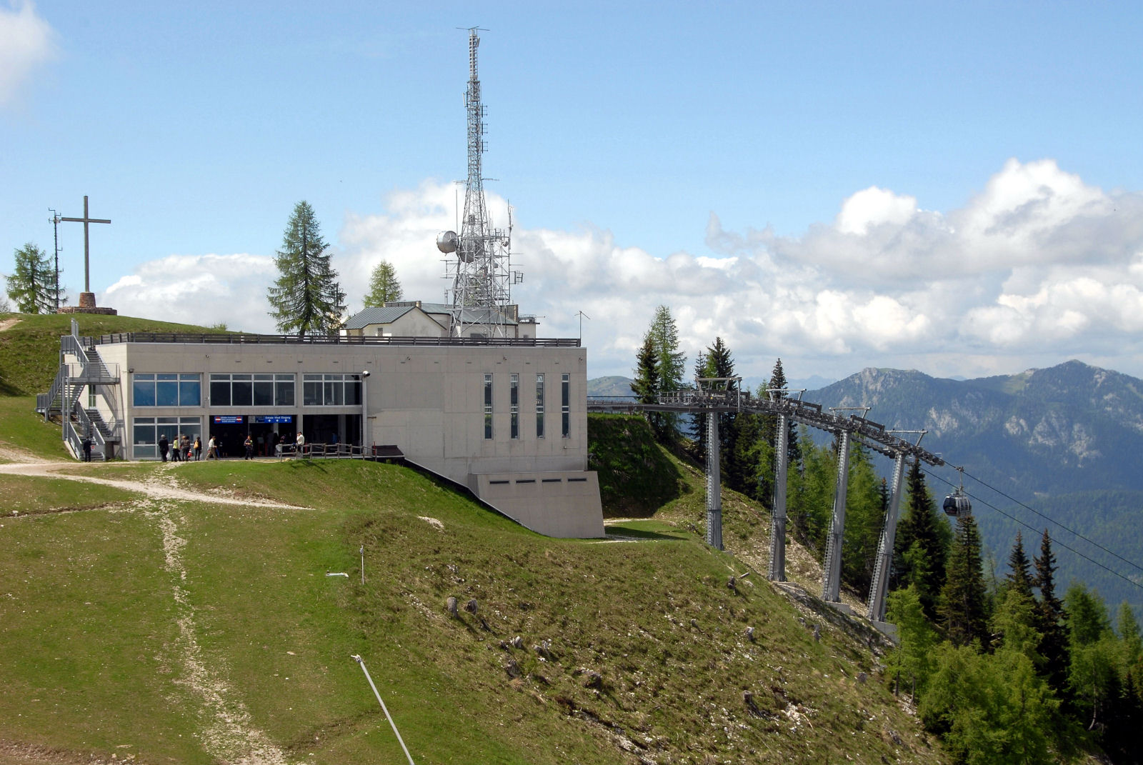 Mountain station of the cable car on the Mount Lussari