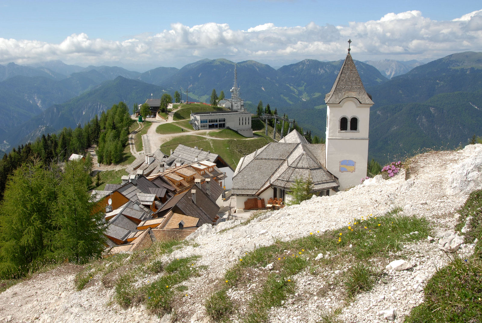 Monte Santo di Lussari with the pilgrimage church Santa Maria In Excelsis