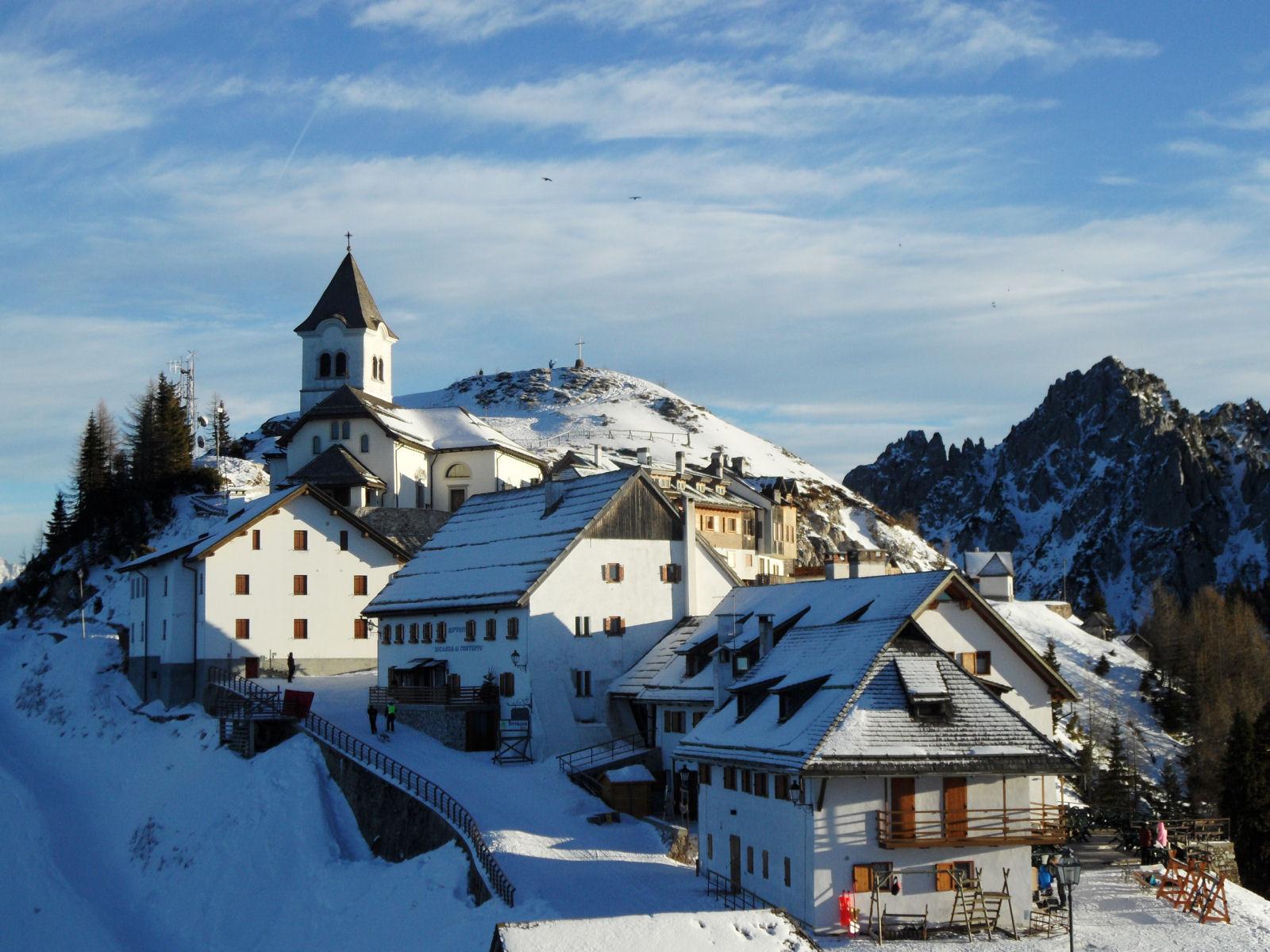 Monte Santo di Lussari in the wintertime, Tarvisio, province of Udine, region Friuli-Venezia Giulia, Italy