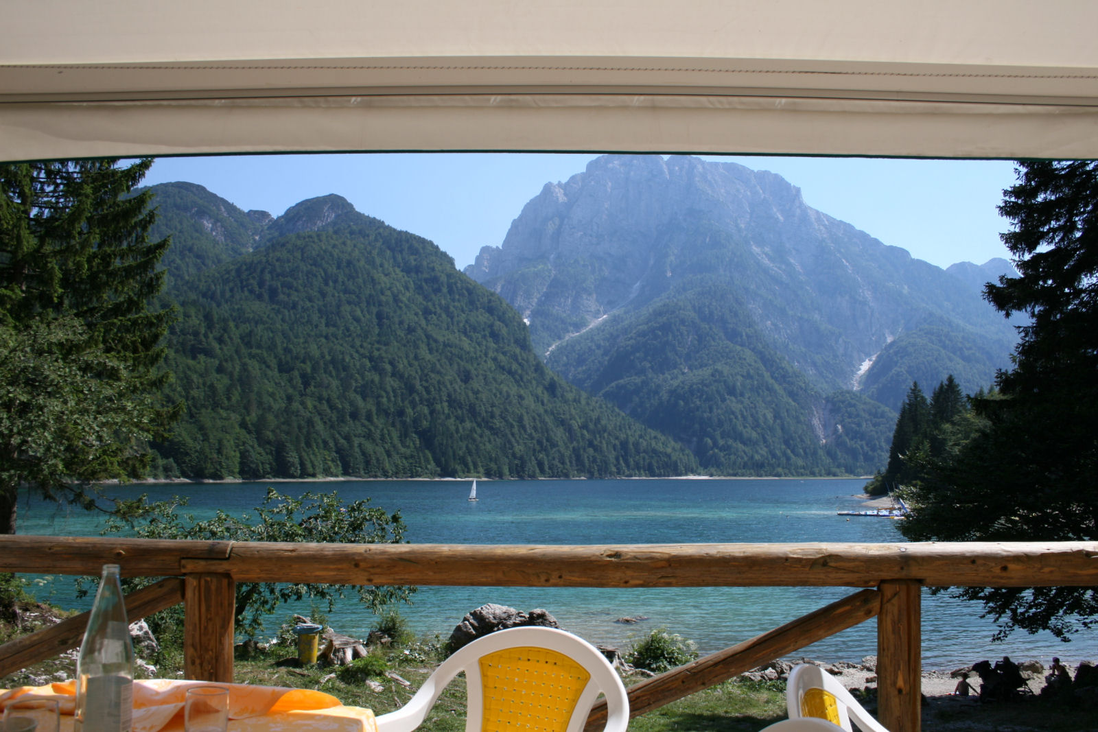 View of the Predil lake from the restaurant next to the lake