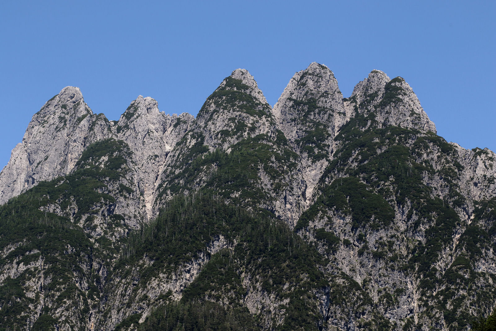 View of the Cinque Punte mountain from the road to the Predil Passon the Italian side