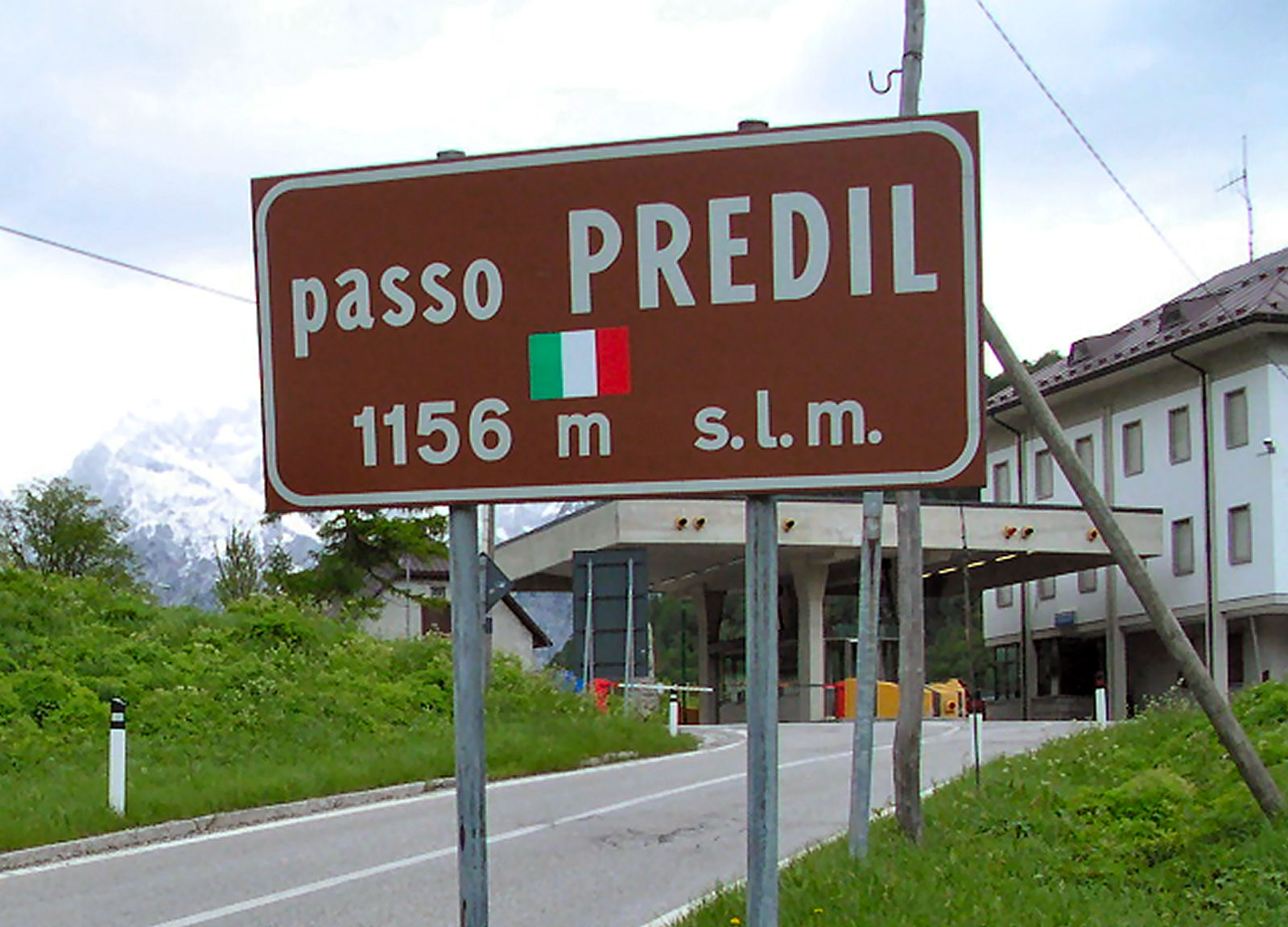 Sign with the elevation of Predil Pass