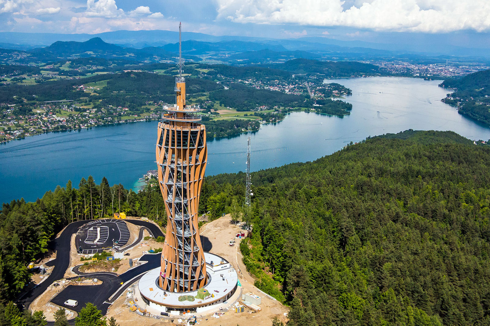The Pyramidenkogel observation tower is located in Carinthia, Austria