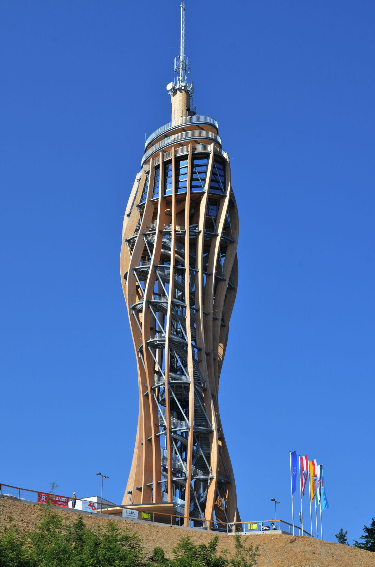 The Pyramidenkogel Observation Tower is the tallest wooden tower in the world at 100 meters