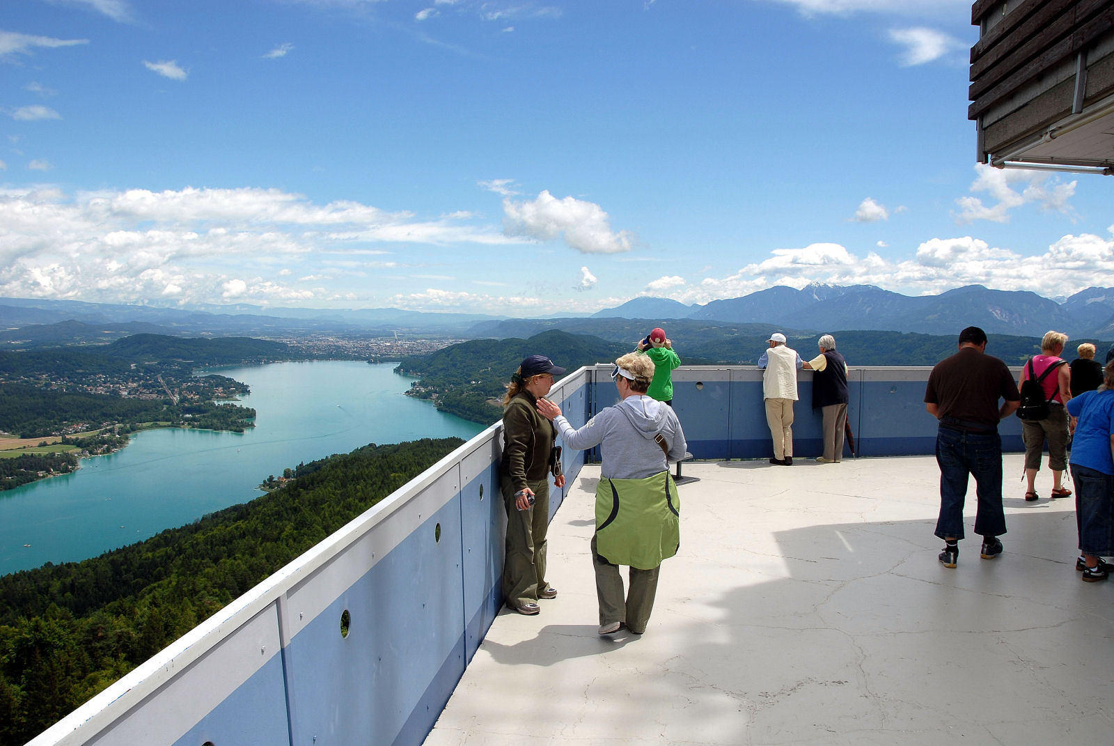From the Pyramidenkogel Observation Tower you can see for a very wide distance on a clear day
