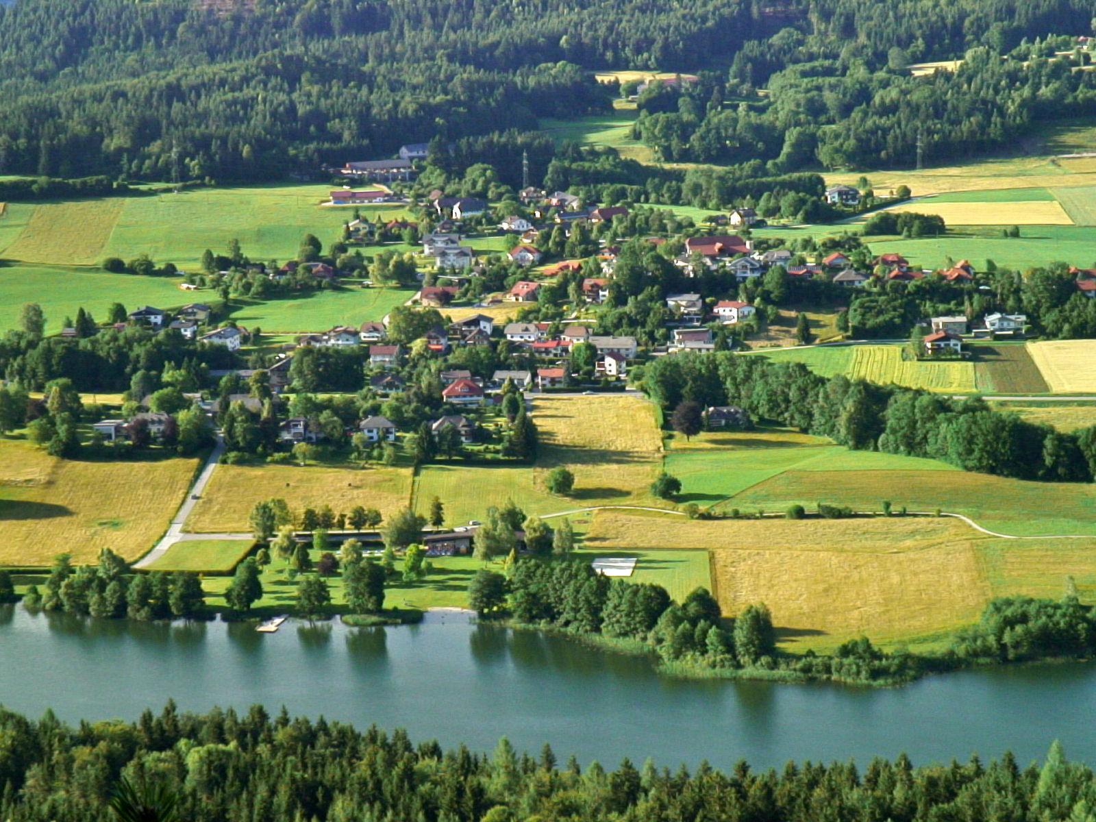 View from the Sattnitz ridge at the Rauschelesee lake, Carinthia, Austria