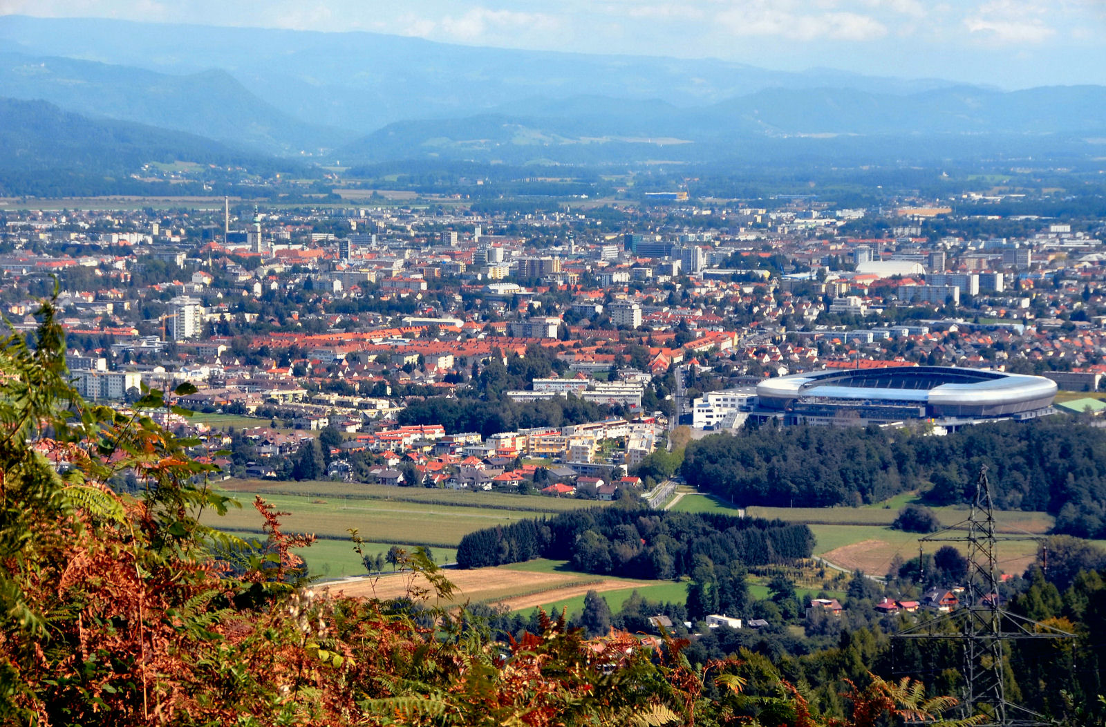 View from the flank of the Schrottkogel at the city of Klagenfurt, Carinthia, Austria