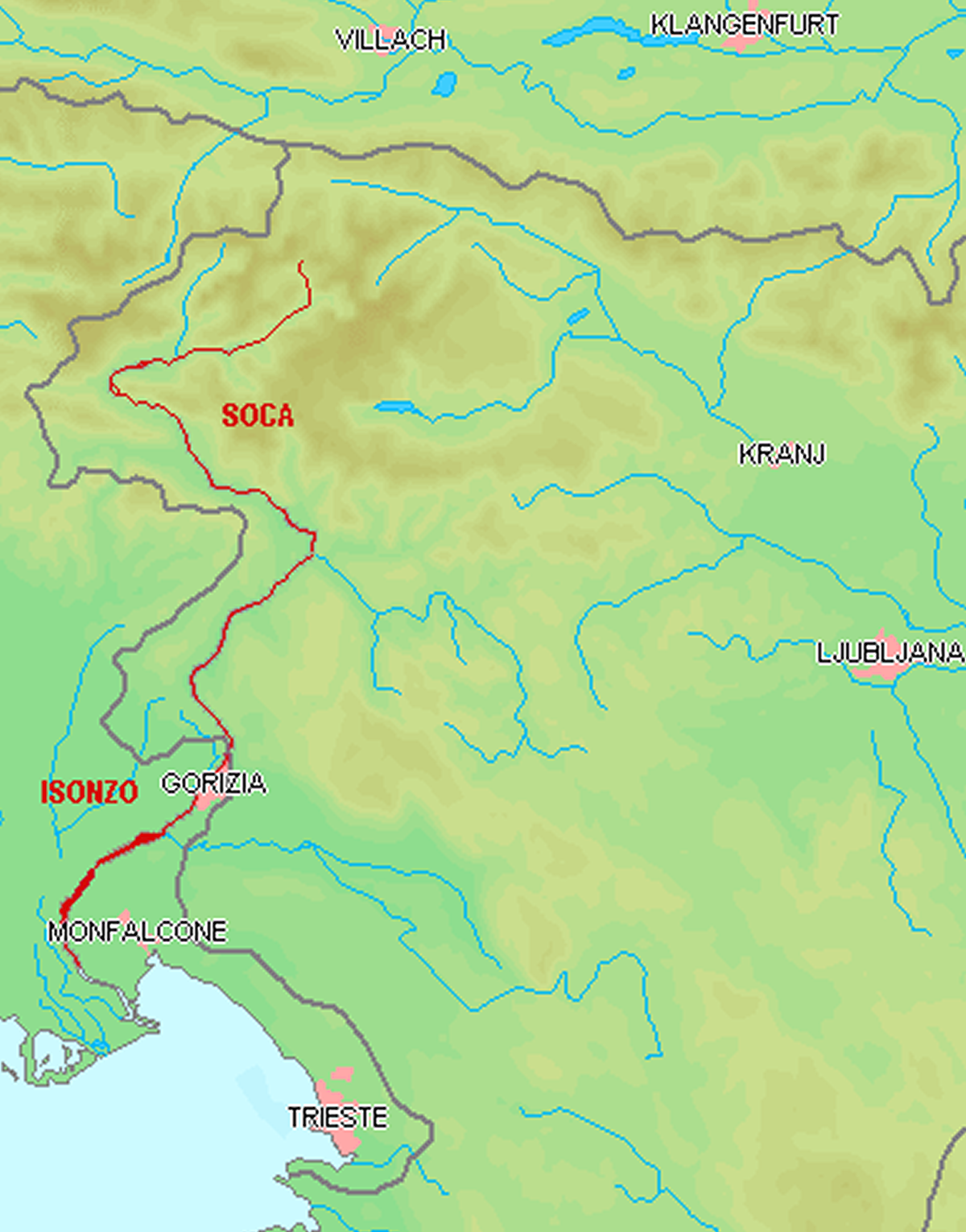 Course of the Soca/Isonzo river