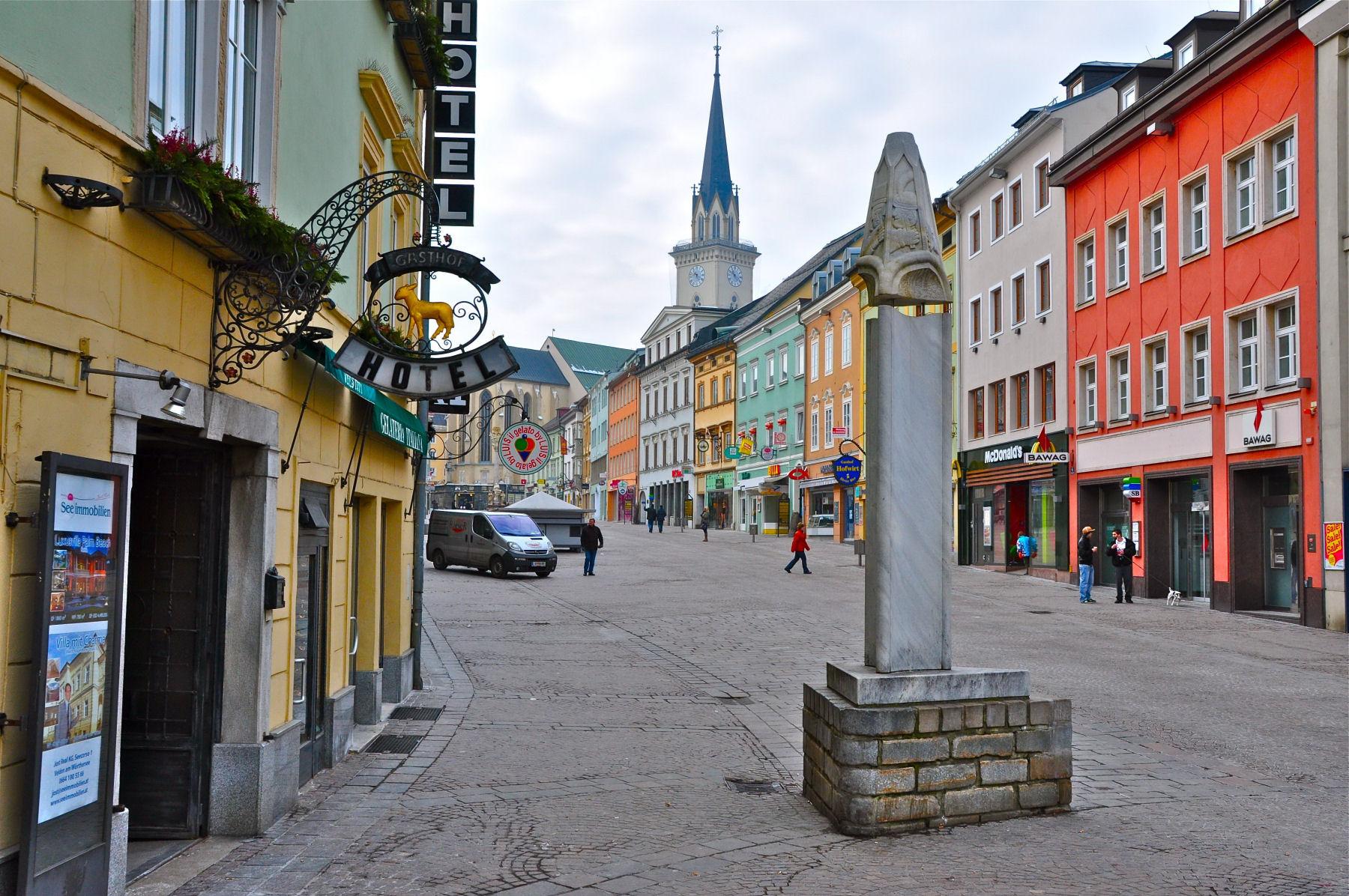 Villach main square called Hauptplatz, Carinthia, Austria