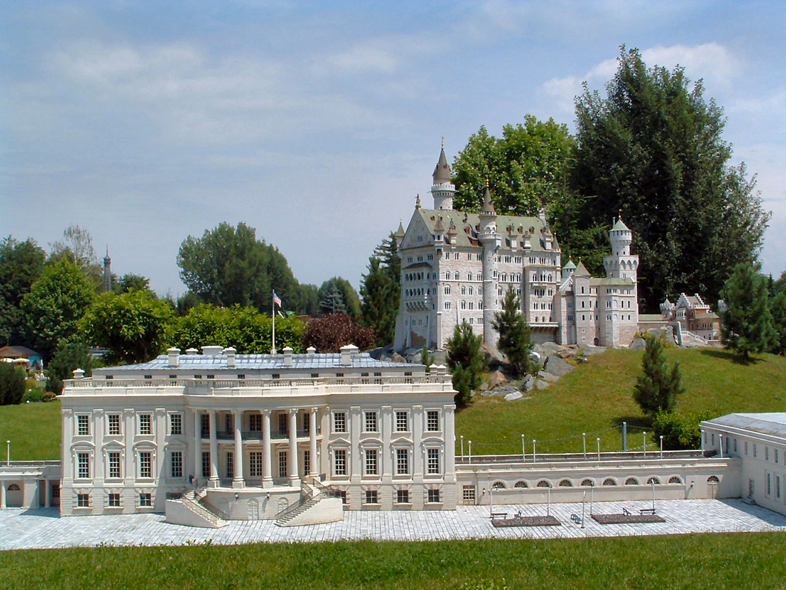 Models of the Washington's White House and Schwangau's Neuschwanstein castle at Minimundus, Klagenfurt, Austria
