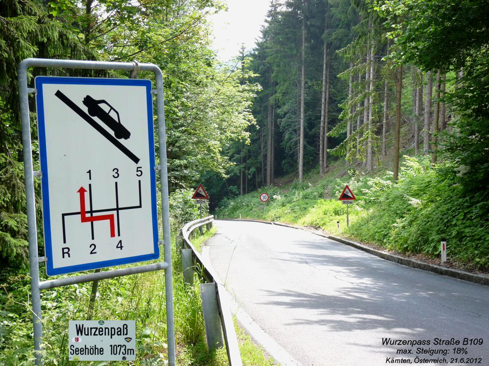 The Wurzen Pass road is very curvy and includes some steep ascents with a maximum grade of 18 percent
