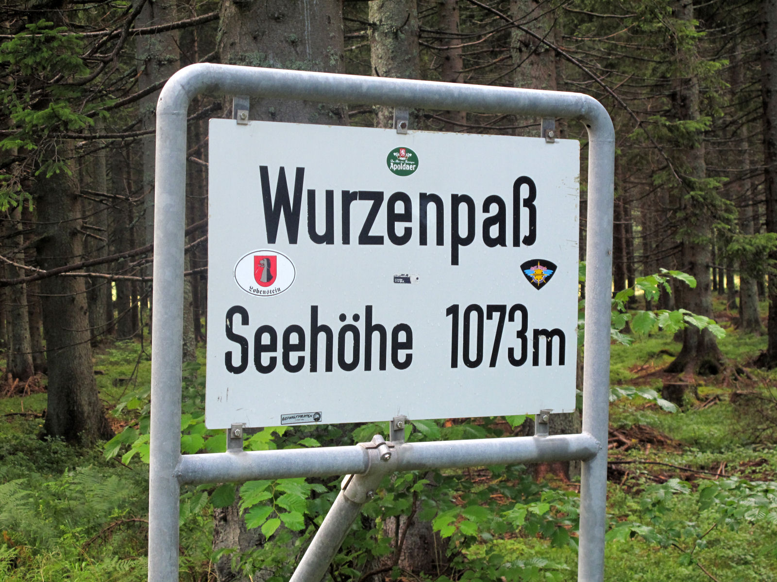 Sign with the elevation of Wurzen Pass