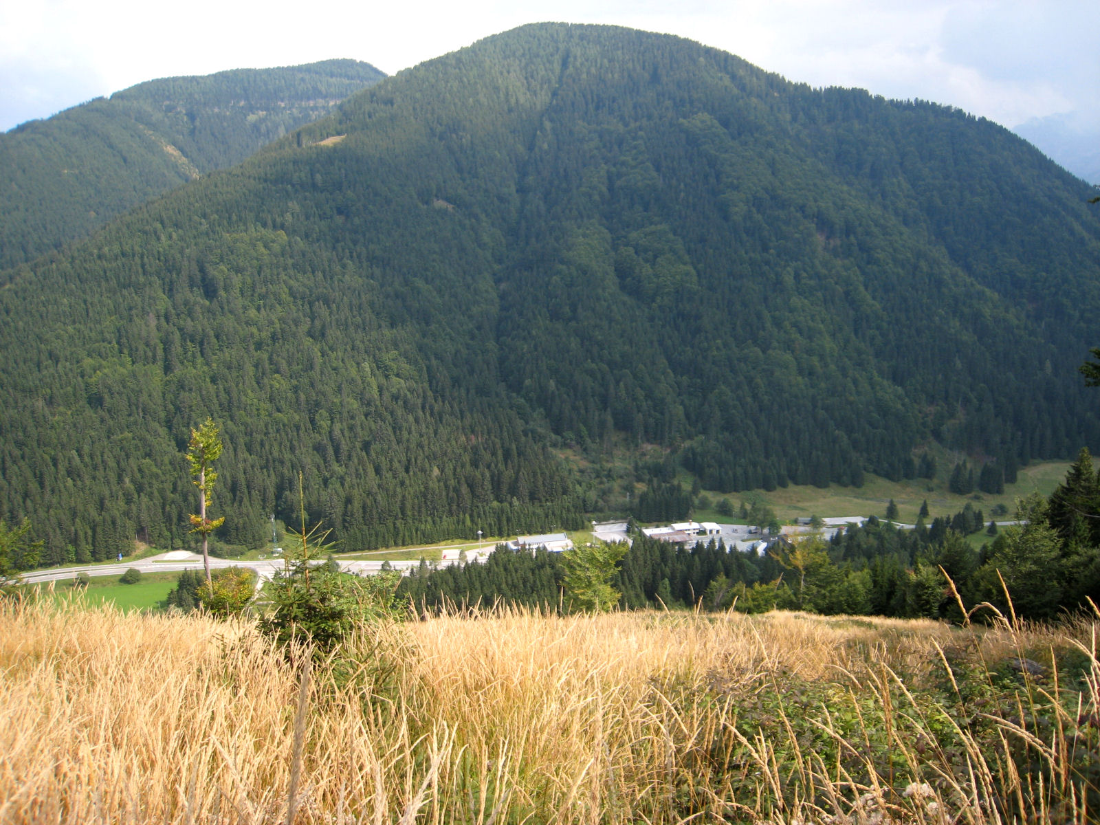 View down at the Wurzen Pass from the west