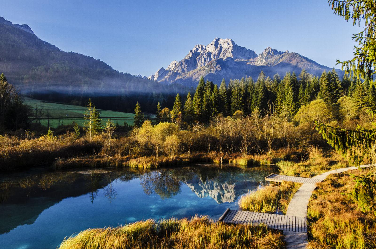 Zelenci Nature Reserve near Kranjska Gora, Slovenia