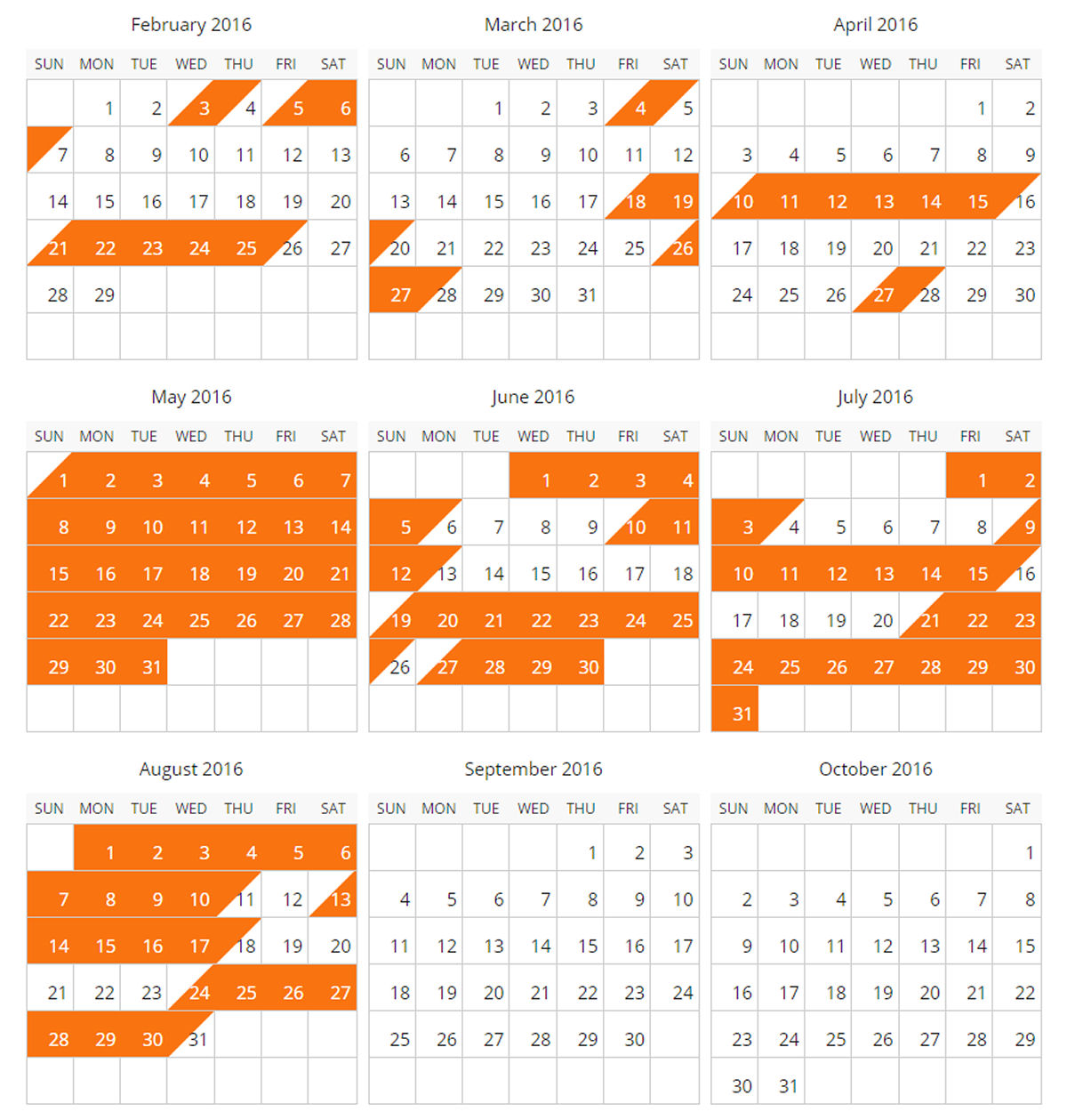 Availability Calendar for 2016