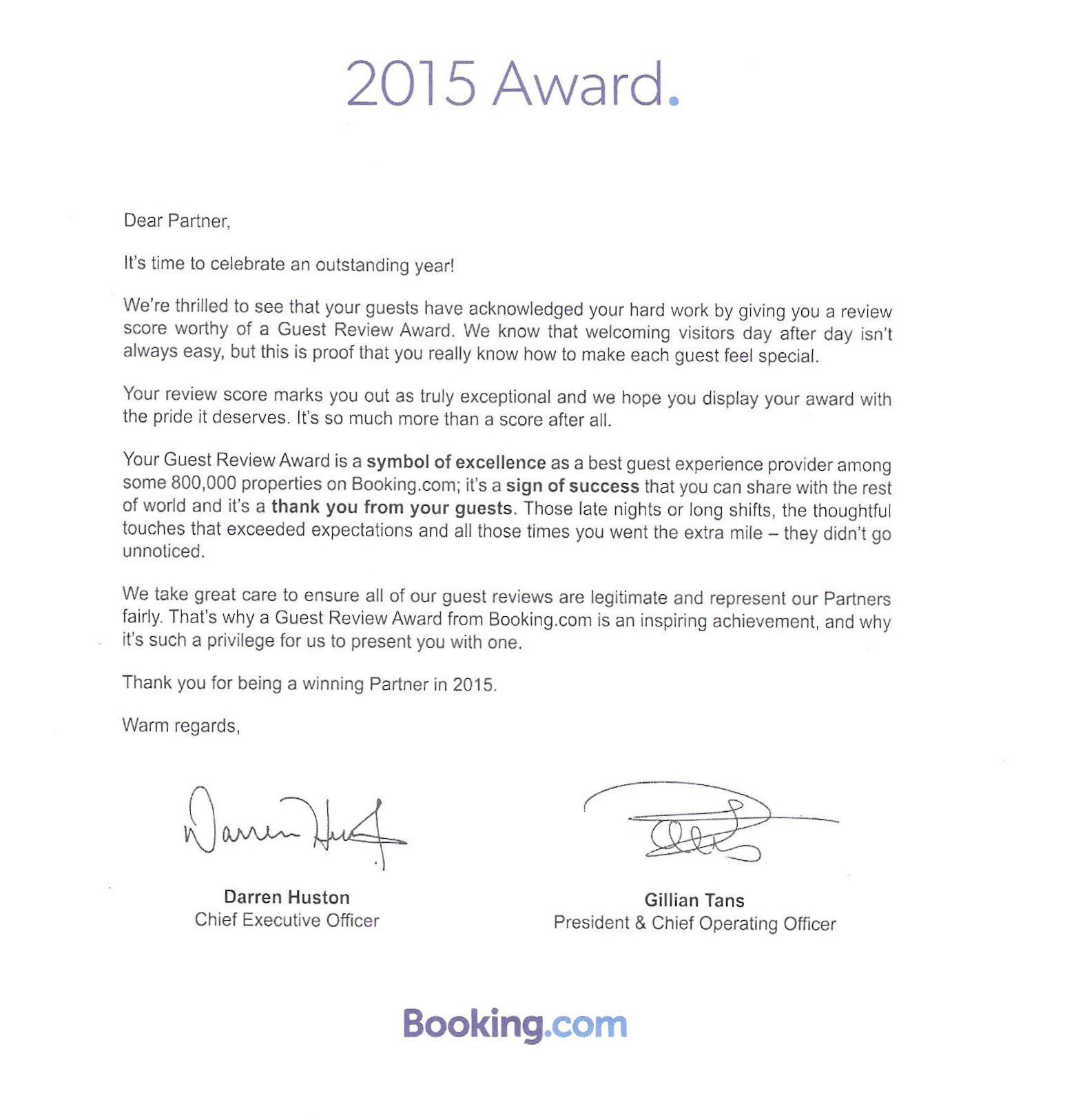 Guest Review Awards 2015 letter from Booking