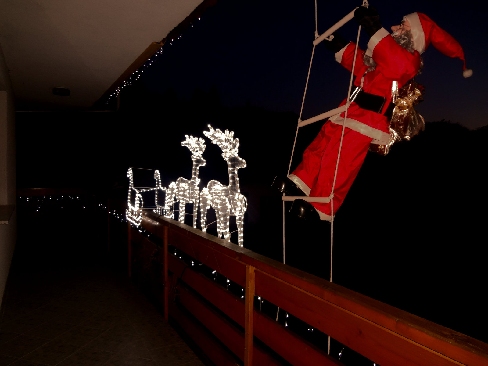 Exterior of the Fine Stay Apartment during the festive season with Santa and reindeers