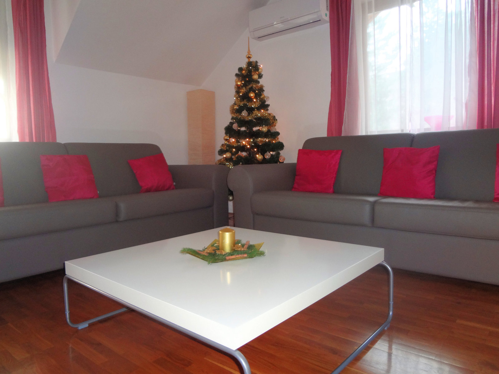 Fine Stay Apartment in Slovenia with a Christmas tree with lights