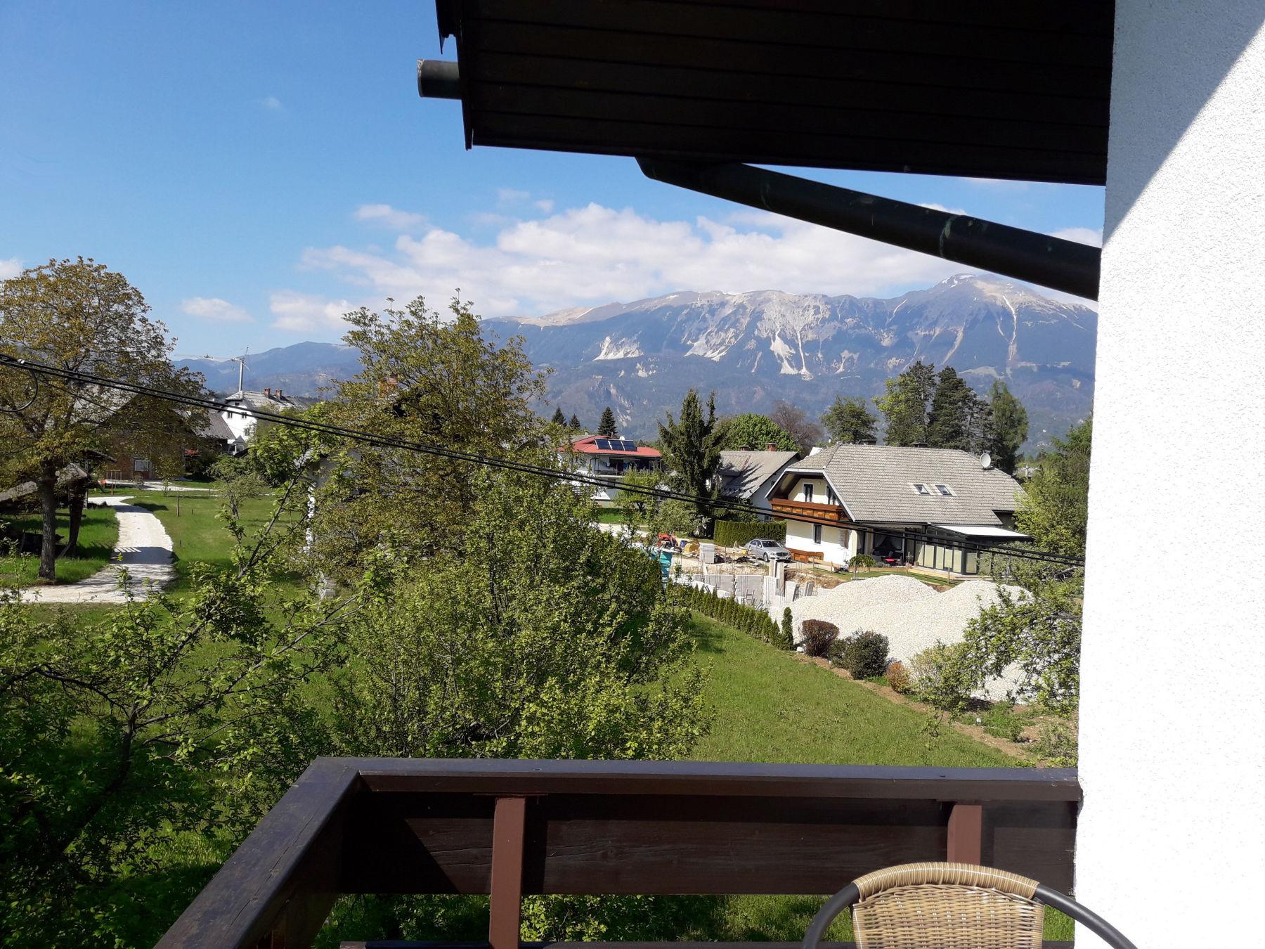 Viev towards the Karavanke mountain range from the balcony Fine Stay apartment in Lake Bled, Slovenia