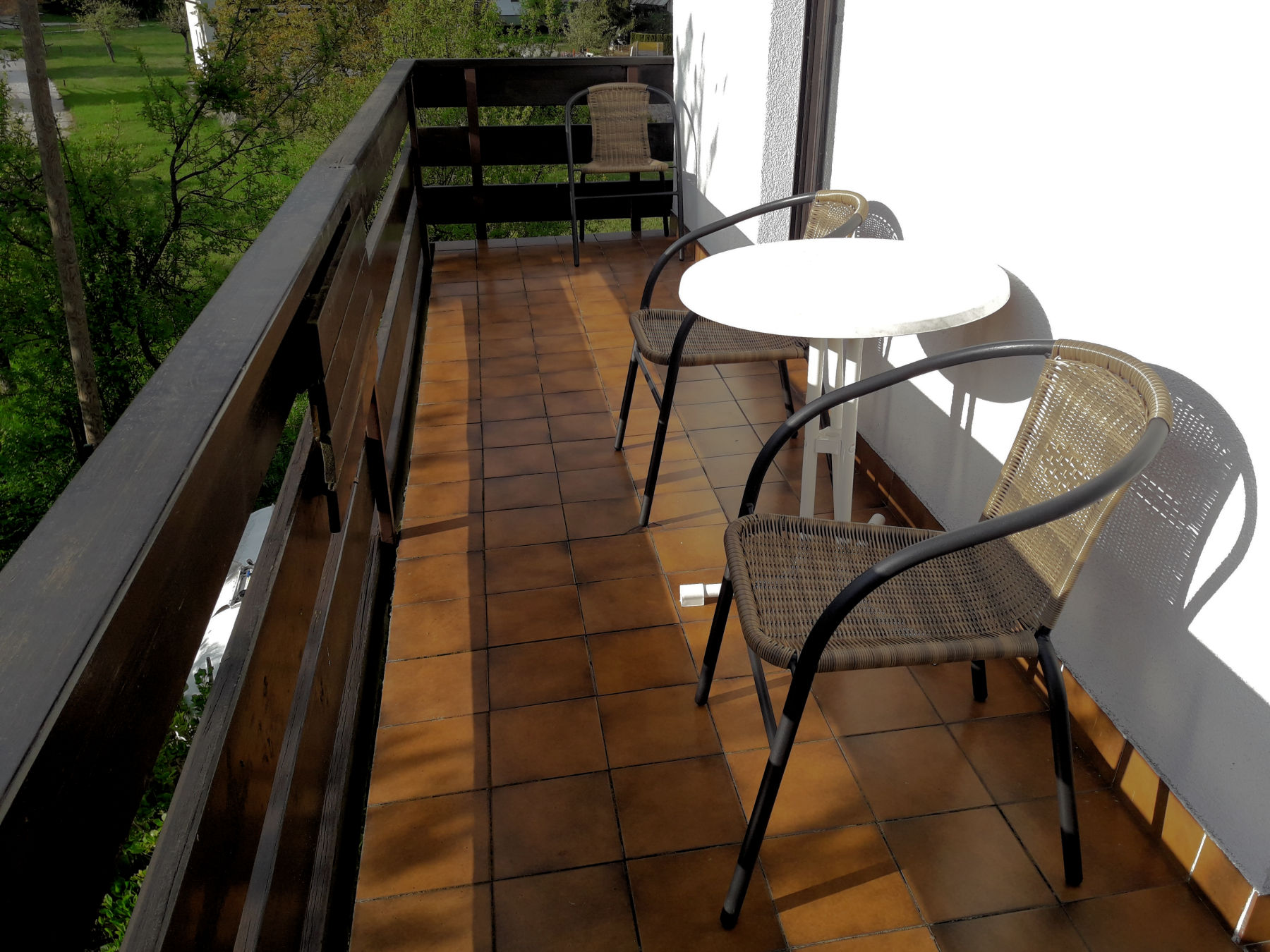 Balcony with garden furniture,  Fine Stay apartment in Lake Bled, Slovenia
