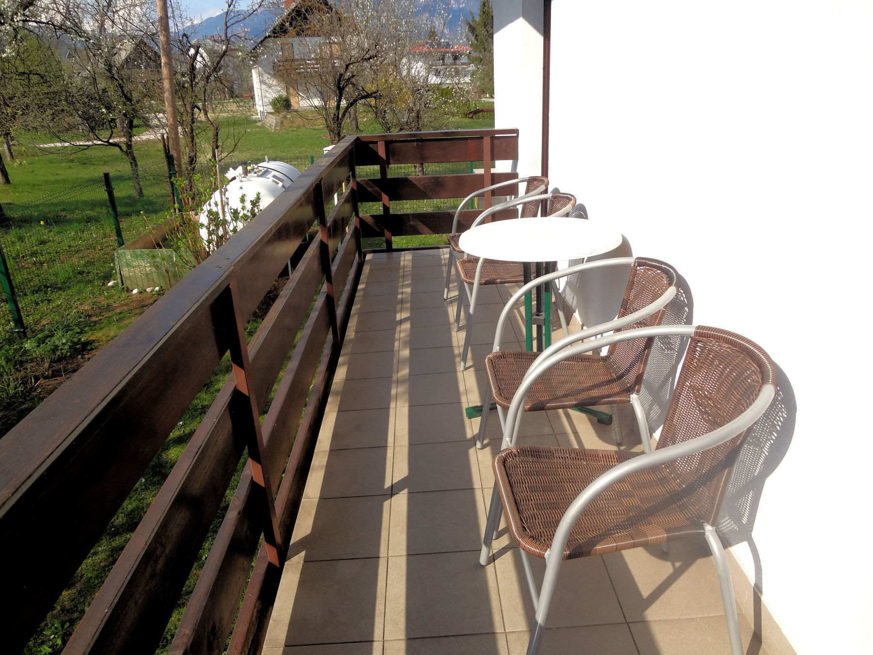 Balcony with garden furniture, Fine Stay Bled apartment in Lake Bled Slovenia