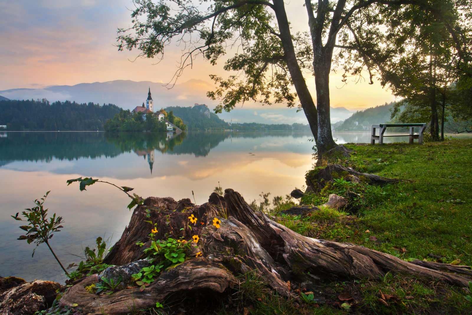 Lake Bled and its island in Slovenia