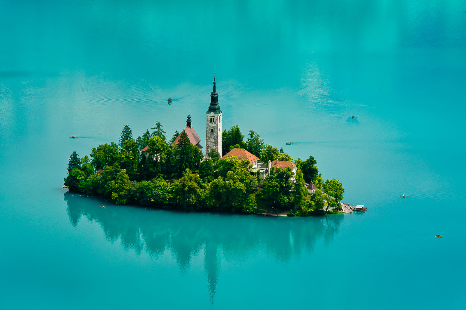 Aerial view of Bled Island in the middle of Lake Bled, Slovenia