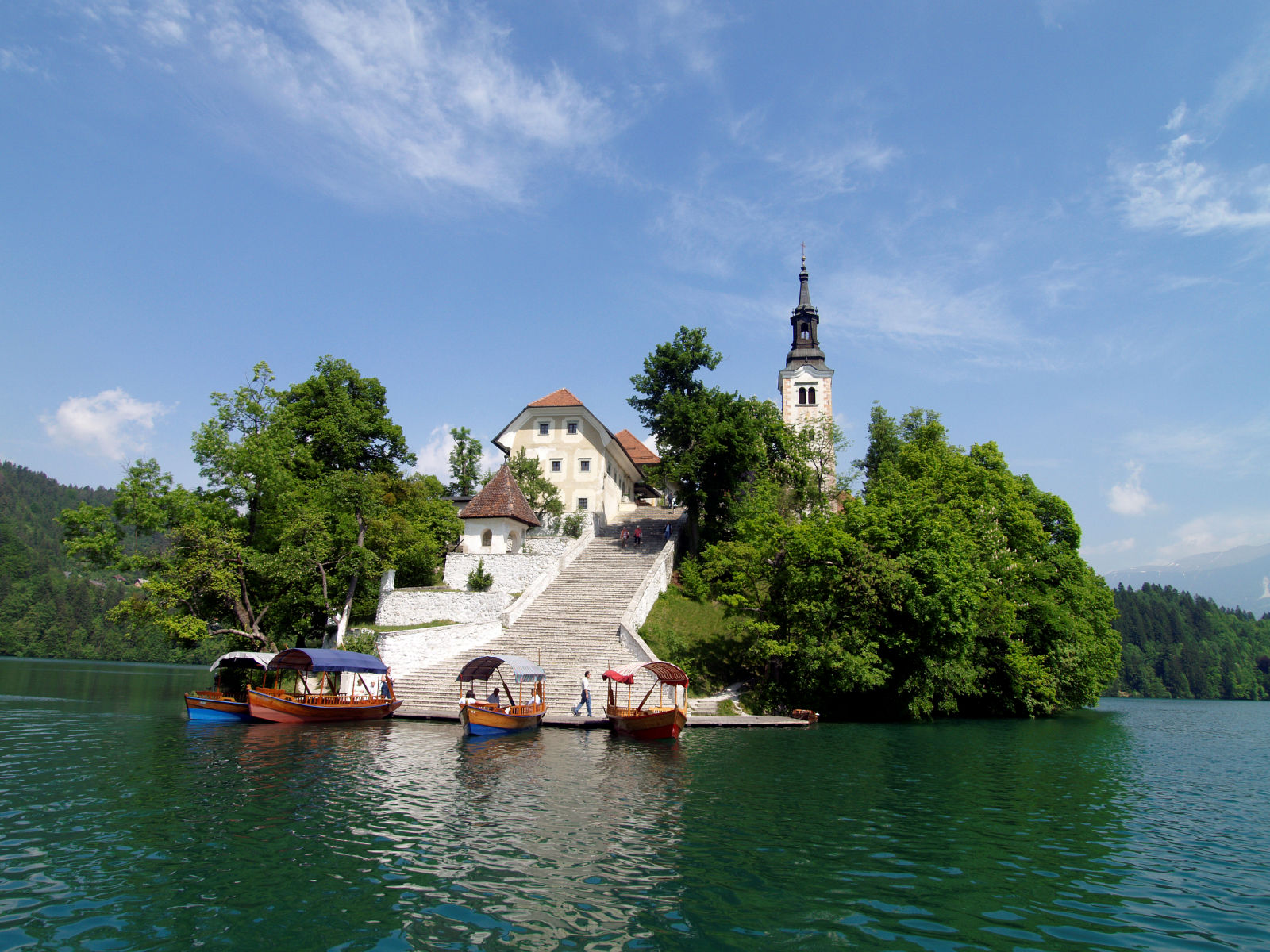 Bled island with 99 stairs in the middle of Lake Bled in Slovenia