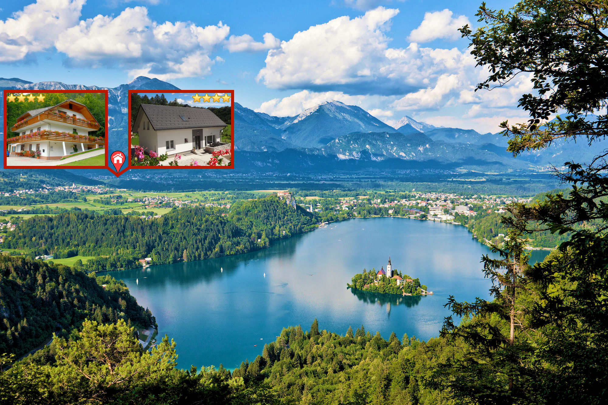 Elevated view of Lake Bled from the Ojstrica viewpoint and the location of Apartments Fine Stay Gorenjska