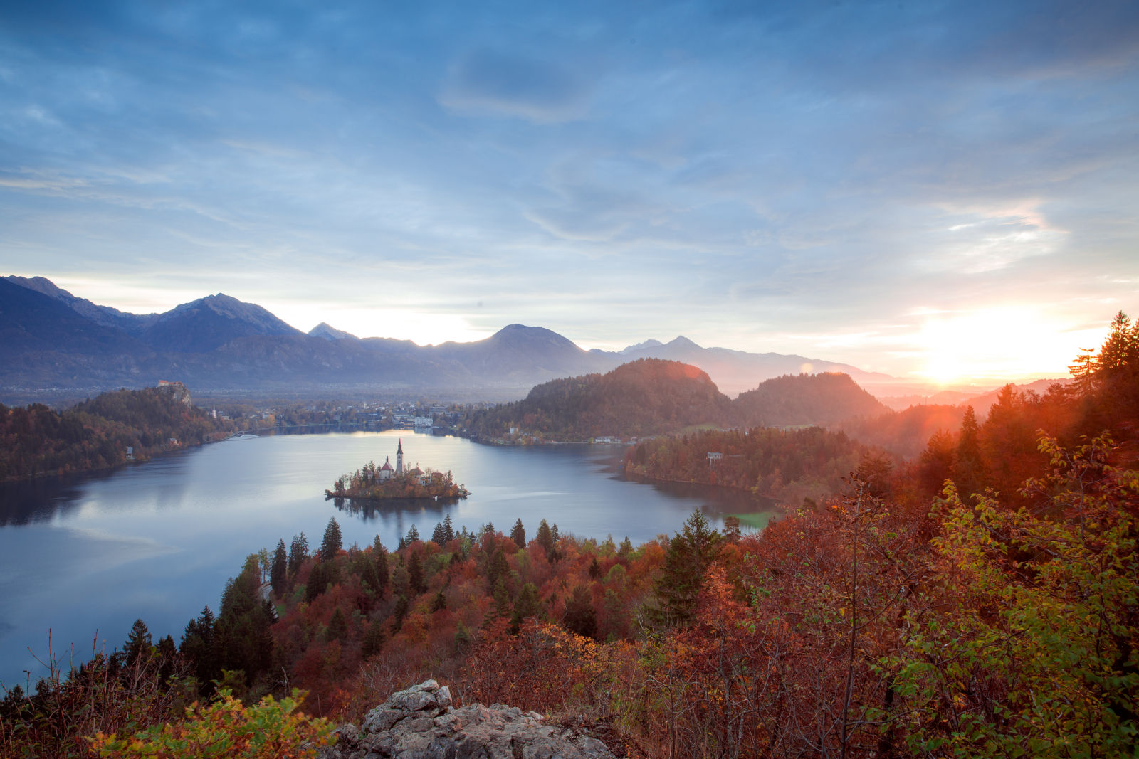 Aerial view of Lake Bled, Slovenia, in autumn