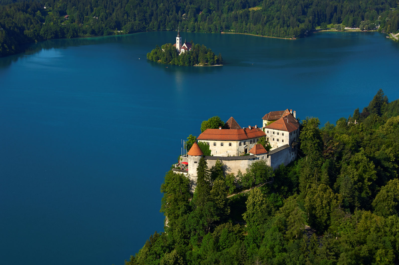 Aerial view of Bled Castle and Lake Bled, Slovenia