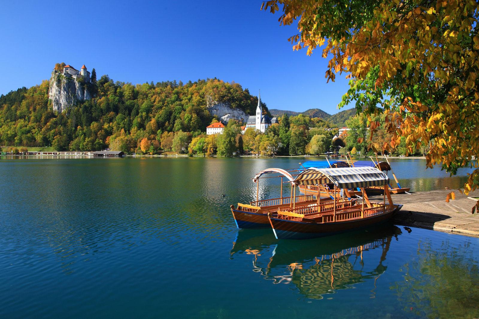 Pletna boats in Lake Bled, Slovenia