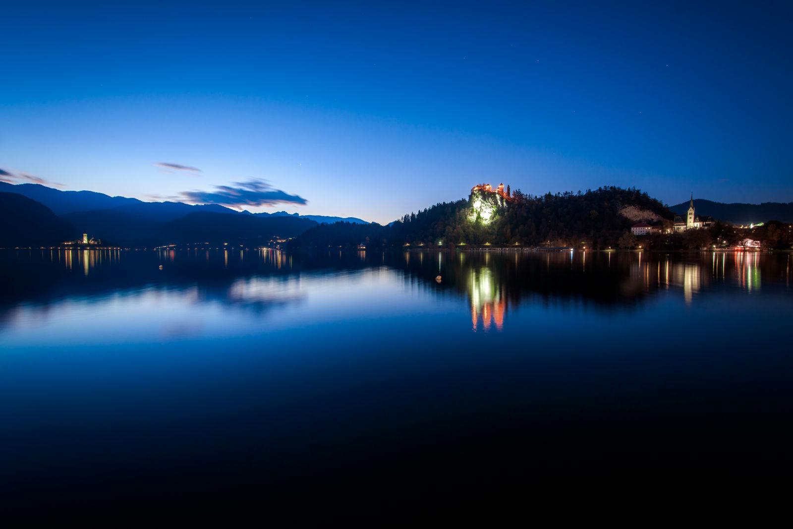 Lake Bled Slovenia at night