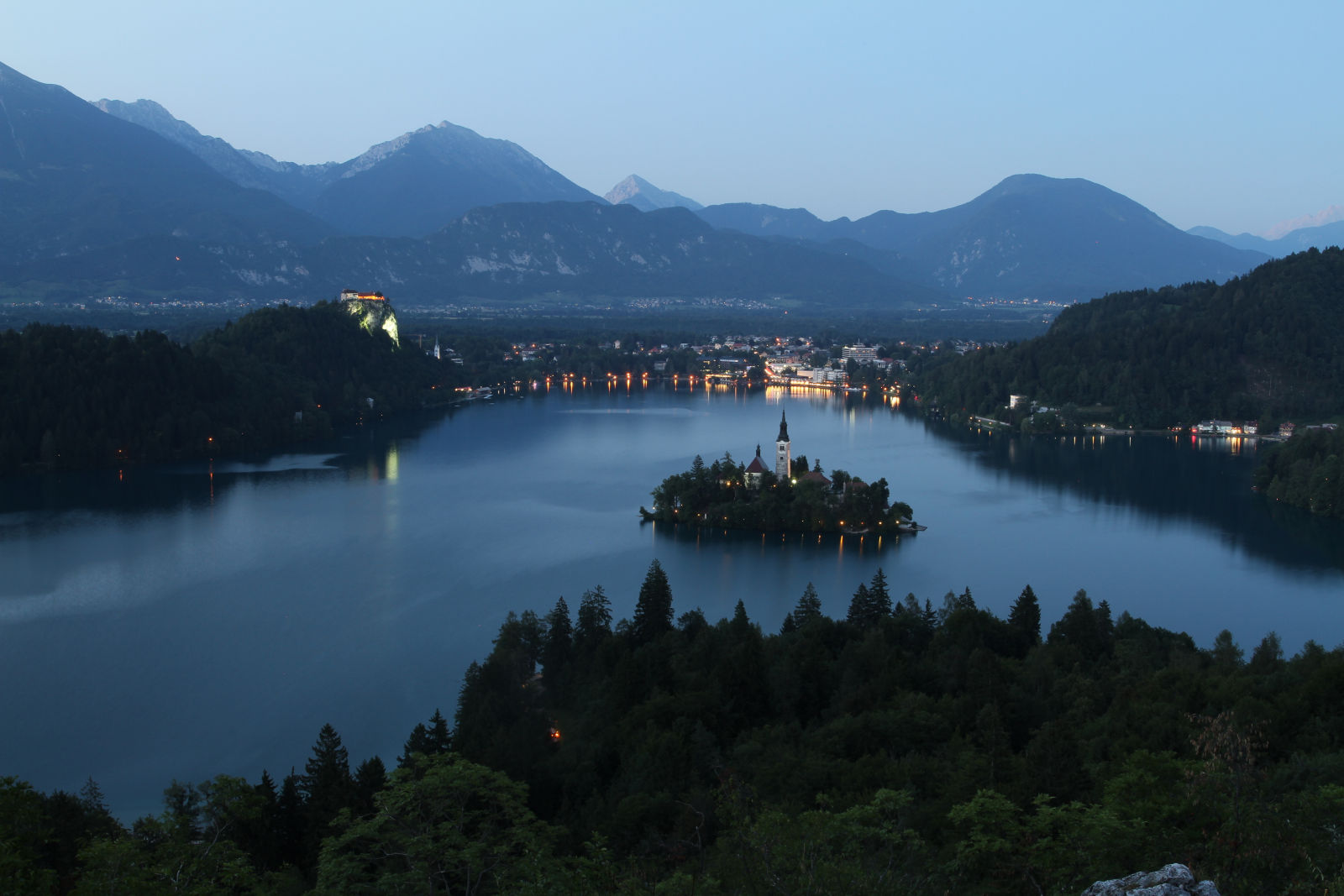 Aerial view of Lake Bled, Slovenia, at night