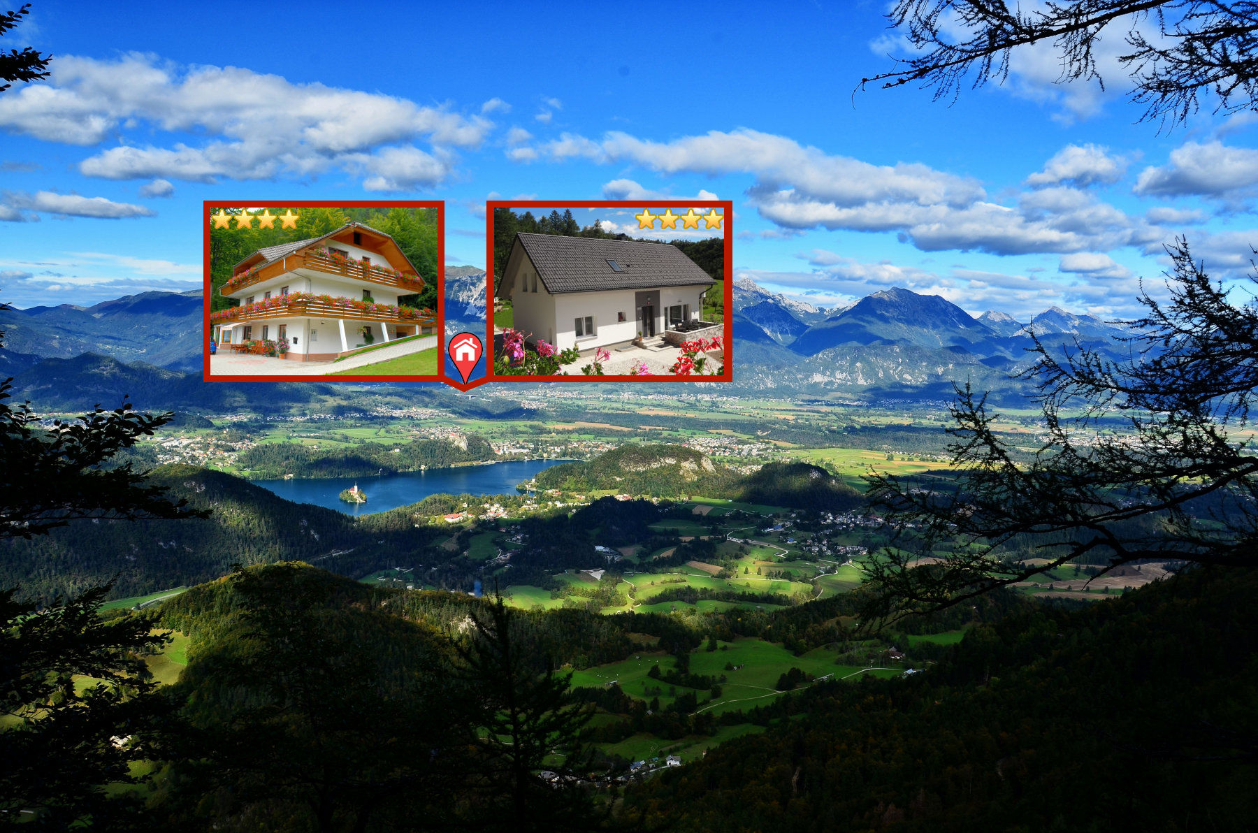 The Bled area of Slovenia and location of Apartments Fine Stay Gorenjska from the Babji Zob hill
