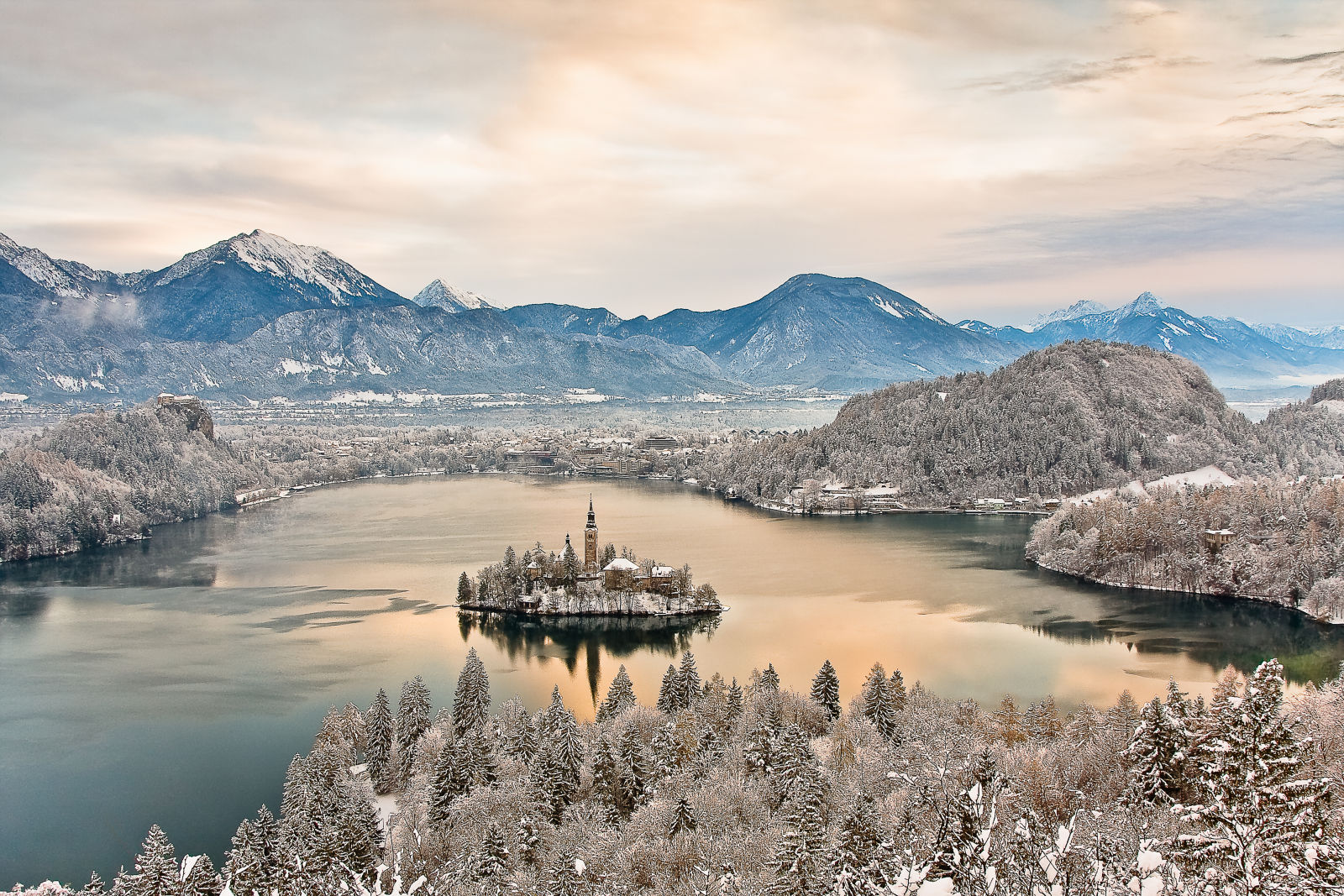 Elevated view of Lake Bled in winter