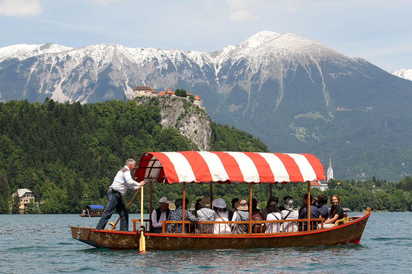 Pletna boat in Lake Bled, Slovenia