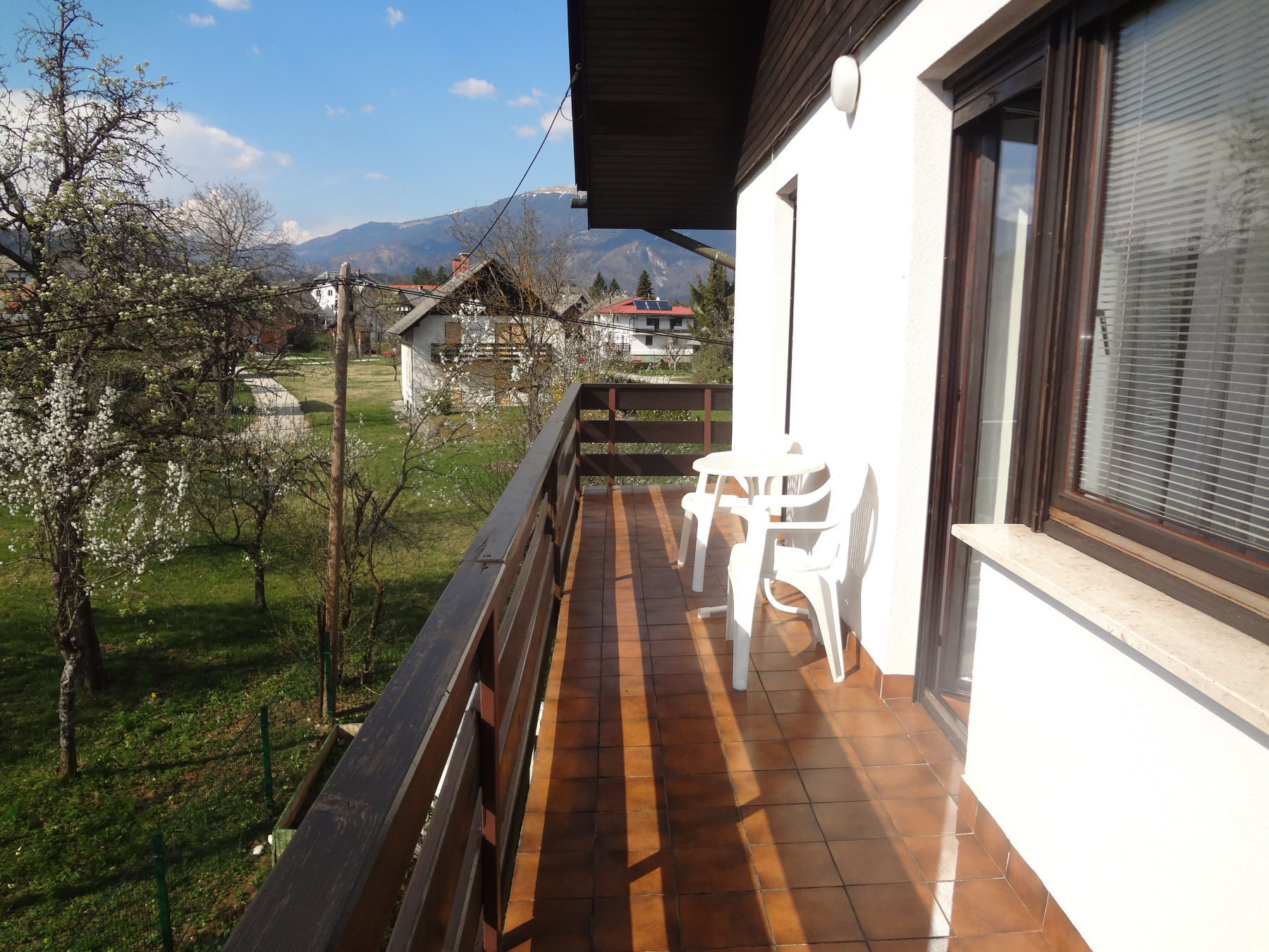 Balcony with garden furniture of the Fine Stay apartment in Lake Bled, Slovenia