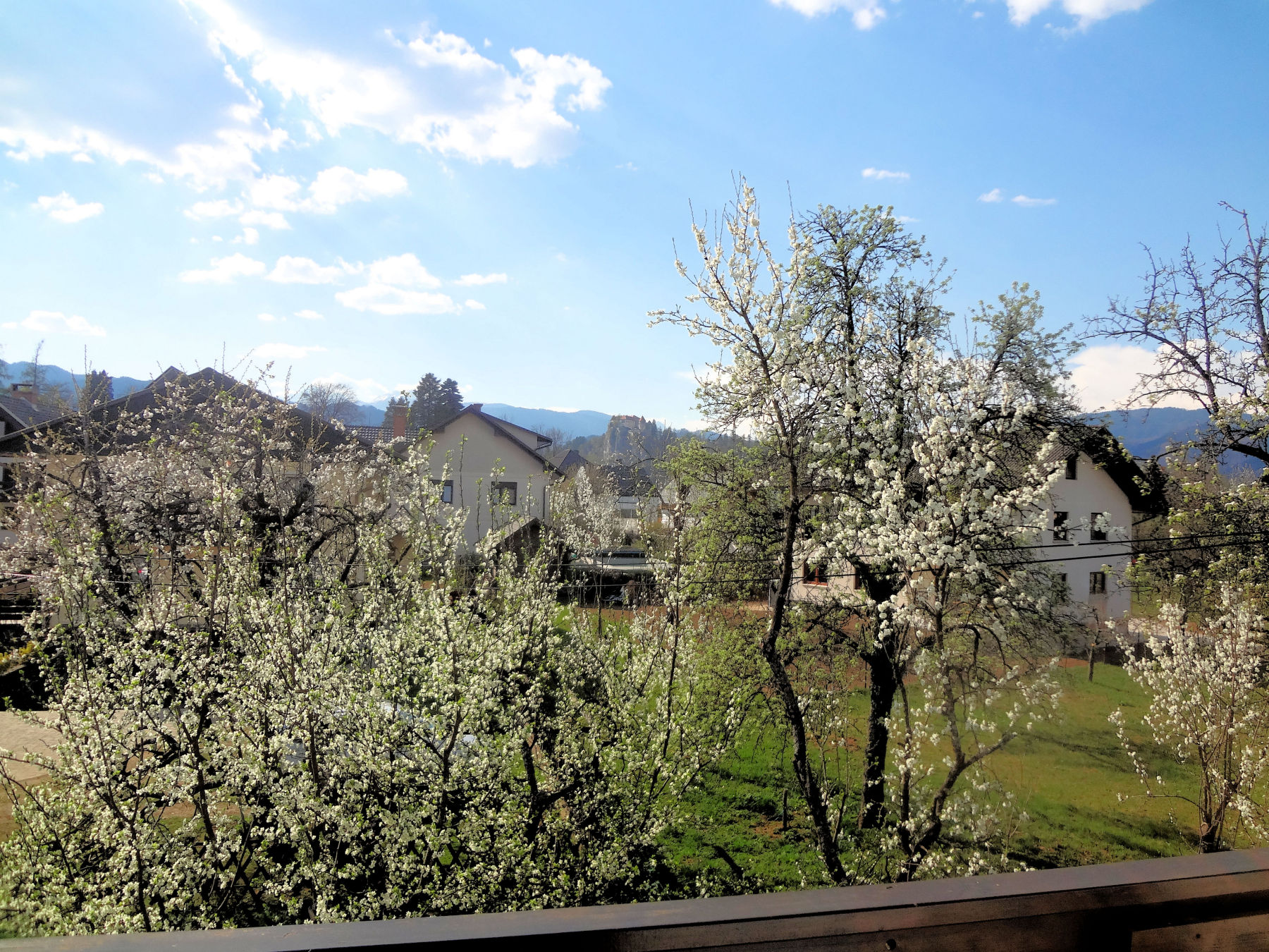 View from the balcony in spring, Fine Stay Apartments in Lake Bled, Slovenia