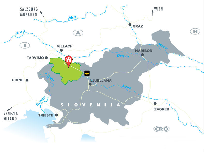 Location of Fine Stay Bled apartments on the map of Slovenia