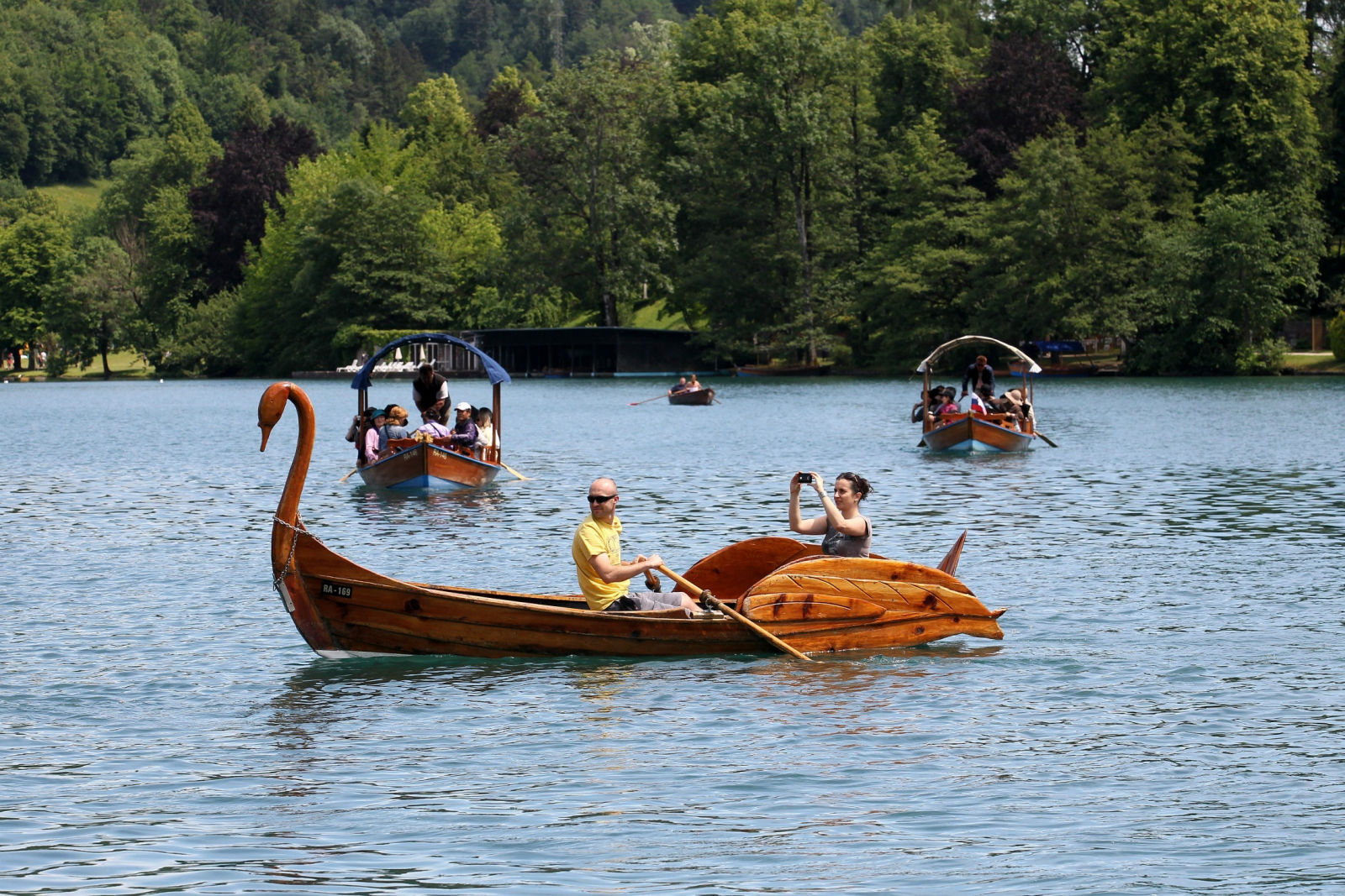 Ornate wooden boat in Lake Bled, Slovenia