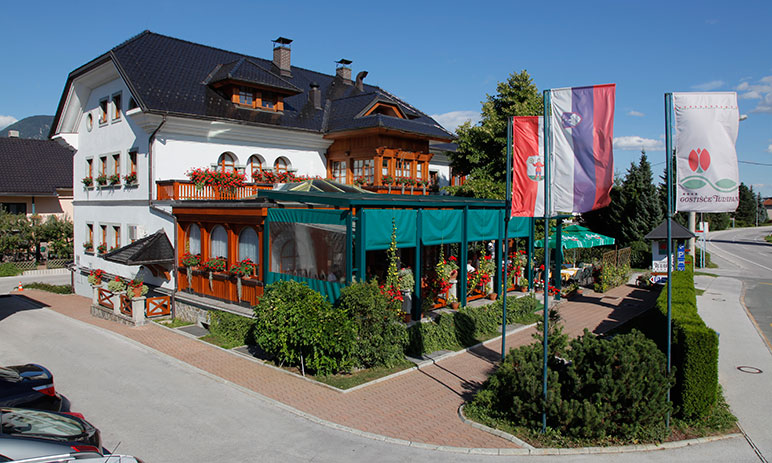 Exterior of the Restaurant Tulipan in Lesce, the Bled area of Slovenia