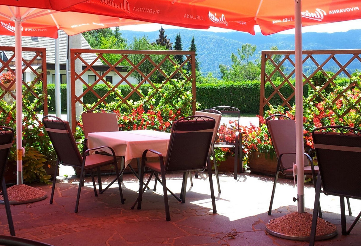 Terrace of the Restaurant Tulipan in Lesce, the Bled area of Slovenia
