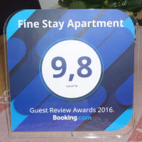 Guest Review Award 2016 from Booking.com for Apartment Fine Stay in Slovenia