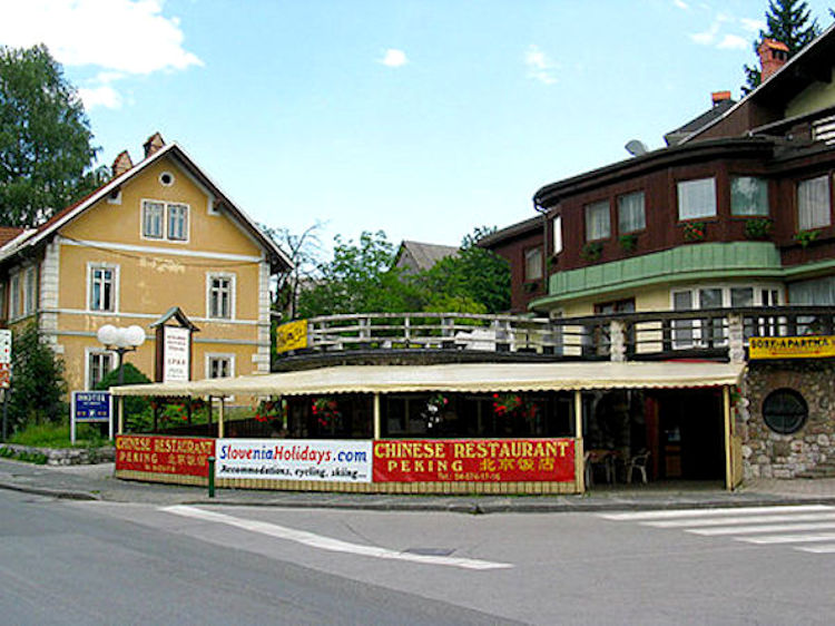 Exterior of the Chinese Restaurant Peking in Lake Bled, Slovenia