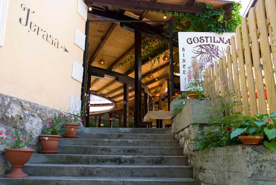 Entrance to the Gostilna Murka restaurant in Lake Bled, Slovenia